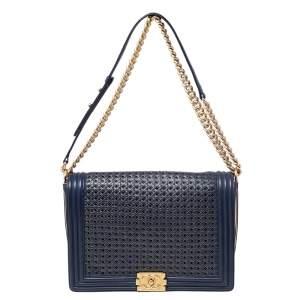 حقيبة يد شانيل بوي جلد مغزول أزرق/ ذهبي بقلاب كبيرة