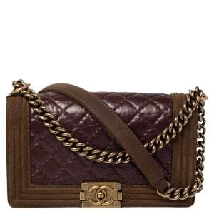 Chanel Brown/Burgundy Quilted Leather and Suede Medium Boy Flap Bag