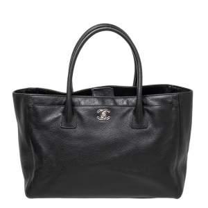 حقيبة يد توتس شانيل سيرف إكزكيوتيف جلد أسود كبيرة