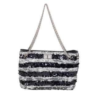 Chanel Black/White Striped Sequins and Patent Leather Small Reissue Tote