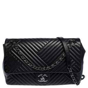 Chanel Black Chevron Quilted Leather Large CC Crossing Flap Bag