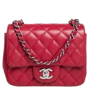 Chanel Red Quilted Leather Mini Square Classic Flap Bag
