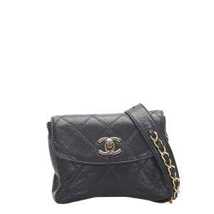 Chanel Black Quilted Lambskin Leather Belt Bag