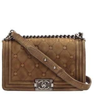 Chanel Brown Medium Boy Suede Leather Flap Bag