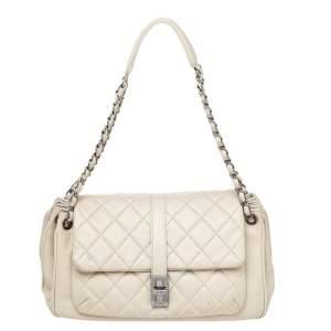Chanel Beige Quilted Leather Mademoiselle Lock Shoulder Bag