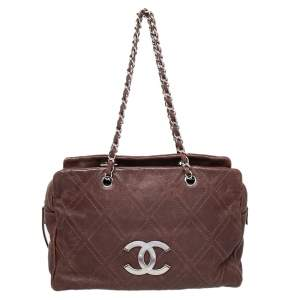 Chanel Brown Leather Large Diamond Stitch Tote
