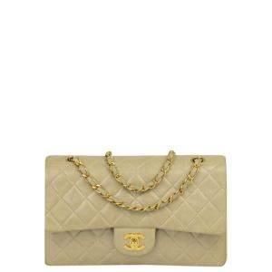 Chanel Beige Lambskin Leather Double Flap Bag
