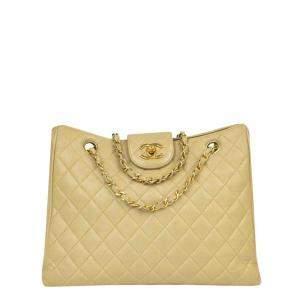 Chanel Beige Leather Supermodel Tote Bag