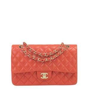 Chanel Orange Lambskin Leather Double Flap Bag
