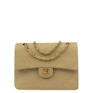 Chanel Beige Leather Vintage Double Flap Bag