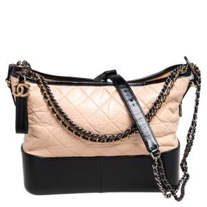 Chanel Beige/Black Quilted Leather Gabrielle Hobo