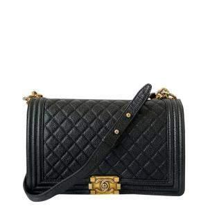 Chanel Black Leather Boy Medium Bag