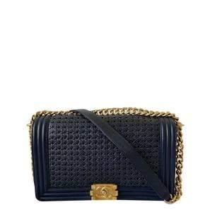 Chanel Blue Woven Sheepskin Leather Boy Medium Flap Bag