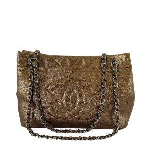 Chanel Bronze Quilted Caviar Leather Timeless CC Shopper Tote Bag