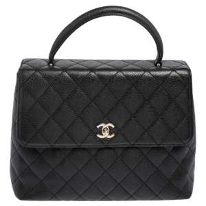 Chanel Black Quilted Caviar Leather CC Top Handle Bag