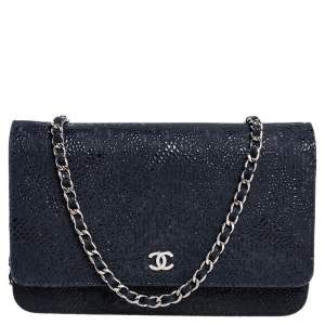 Chanel Navy Blue/Black Lace Overlay Suede Classic Wallet on Chain