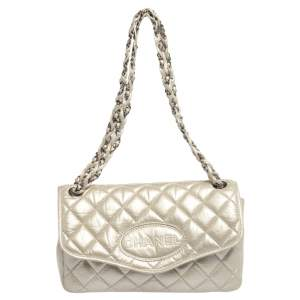 Chanel Metallic Cream Quilted Leather Logo Flap Bag