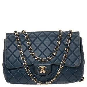 Chanel Blue Quilted Leather Jumbo Classic Single Flap Bag