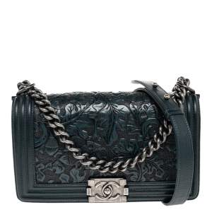 Chanel Green Embossed Leather Medium Paris Dallas Boy Flap Bag