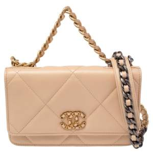 Chanel Beige Quilted Lambskin Leather 19 Wallet on Chain