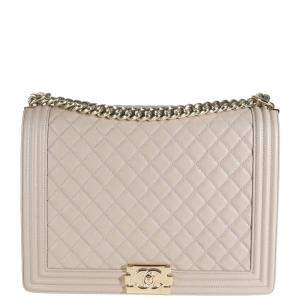 Chanel Brown Quilted Caviar Leather Boy Large Bag