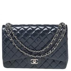 Chanel Slate Grey Quilted Patent Leather Maxi Classic Double Flap Bag