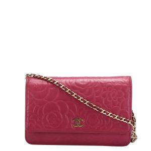 Chanel Red Leather Camellia Wallet