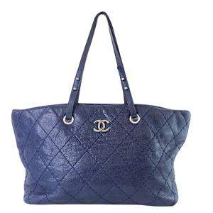 Chanel Blue Quilted Glazed Leather On-the-Road XL Tote Bag