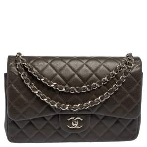 Chanel Dark Brown Quilted Caviar Leather Jumbo Classic Double Flap Bag