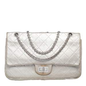 Chanel Silver Quilted Leather Reissue 2.55 Classic 227 Flap Bag