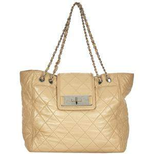 Chanel Brown/Beige Leather Reissue East West Tote Bag