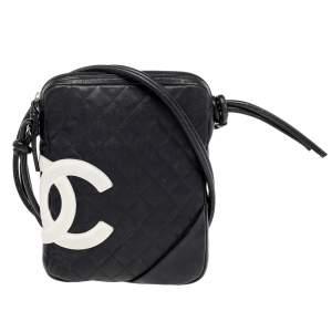 Chanel Black Quilted Leather Ligne Cambon Messenger Bag