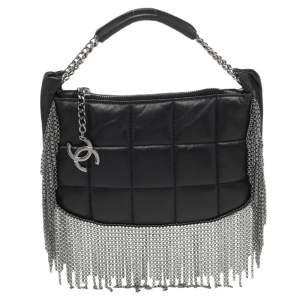 Chanel Black Quilted Leather Metal Chained Fringe Bag