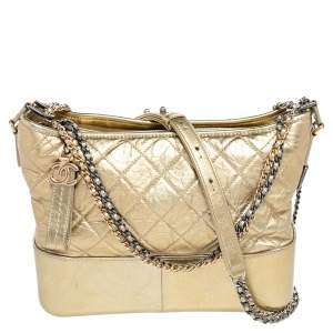 Chanel Gold Quilted Aged Leather Medium Gabrielle Bag