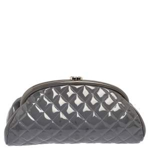Chanel Grey Quilted Patent Leather Timeless Clutch