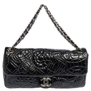 Chanel Black Patent Vinyl Graphic Edge Classic Flap Bag