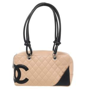 Chanel Beige/Black Quilted Leather Cambon Ligne Bowler Bag