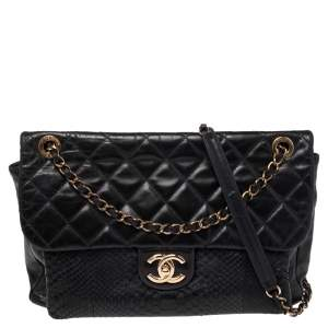 Chanel Black Quilted Leather and Python Urban Mix Flap Bag