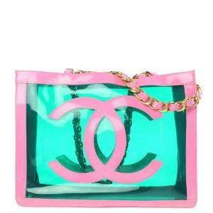 Chanel Pink Vintage CC Logo Vinyl Tote Bag
