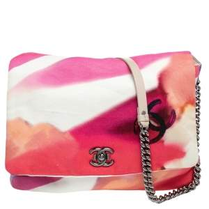Chanel Pink Canvas Flower Power Shoulder Bag