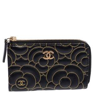 Chanel Black Leather Camellia Zip Around Compact Wallet