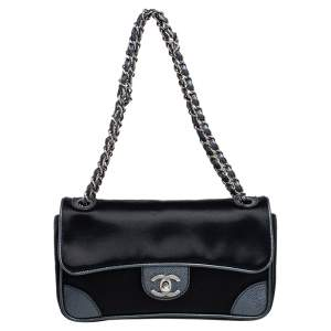 Chanel Black Satin and Caviar Leather East West Flap Bag