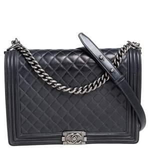 Chanel Grey Quilted Leather Large Boy Flap Bag