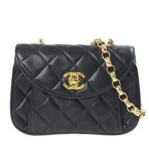 Chanel Black Vintage Leather Shoulder Bag