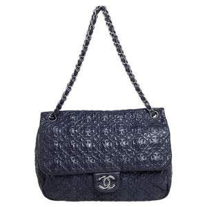 Chanel Purple Lucky Charm Embossed Patent Leather CC Flap Bag