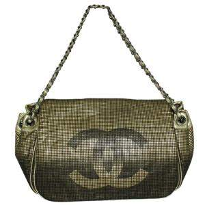Chanel Gold Fabric Satin Hollywood Shoulder Bag