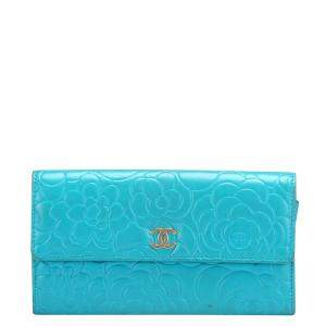 Chanel Blue Leather Camellia Wallet