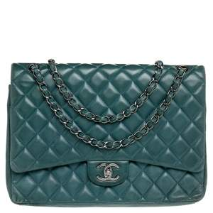 Chanel Green Quilted Leather Maxi Classic Double Flap Bag