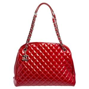 Chanel Red Quilted Patent Leather Medium Just Mademoiselle Bowler Bag