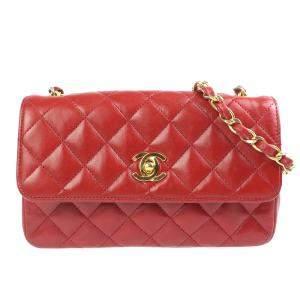 Chanel Red Leather Classic Vintage Shoulder Bag